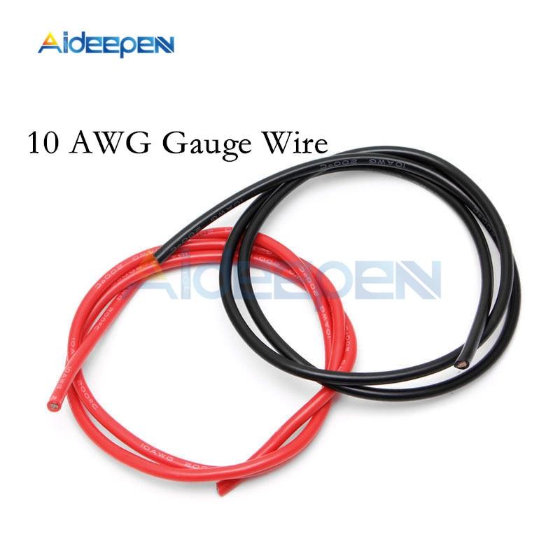 1 par 2M 10 AWG calibre Alambre de silicona Flexible cobre trenzado Cables para RC negro y rojo