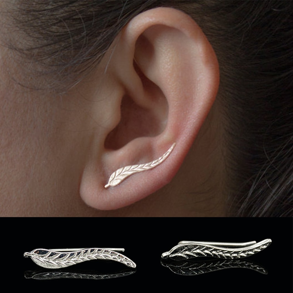 KISSWIFE Fashion Personality Metal Leaf Simple Ear Sweep Wrap Gold Color Climber Leafs Clip Cuffs Earrings for Wo