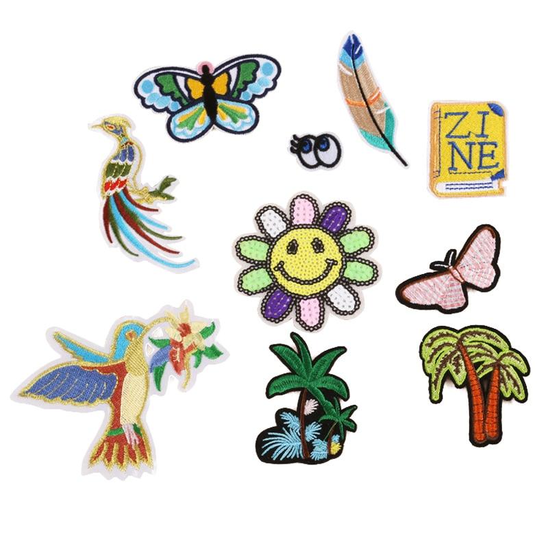 Mariposa árbol ojos libro Hierro en parches coser apliques bordados para chaqueta ropa calcomanías insignia DIY accesorios de ropa