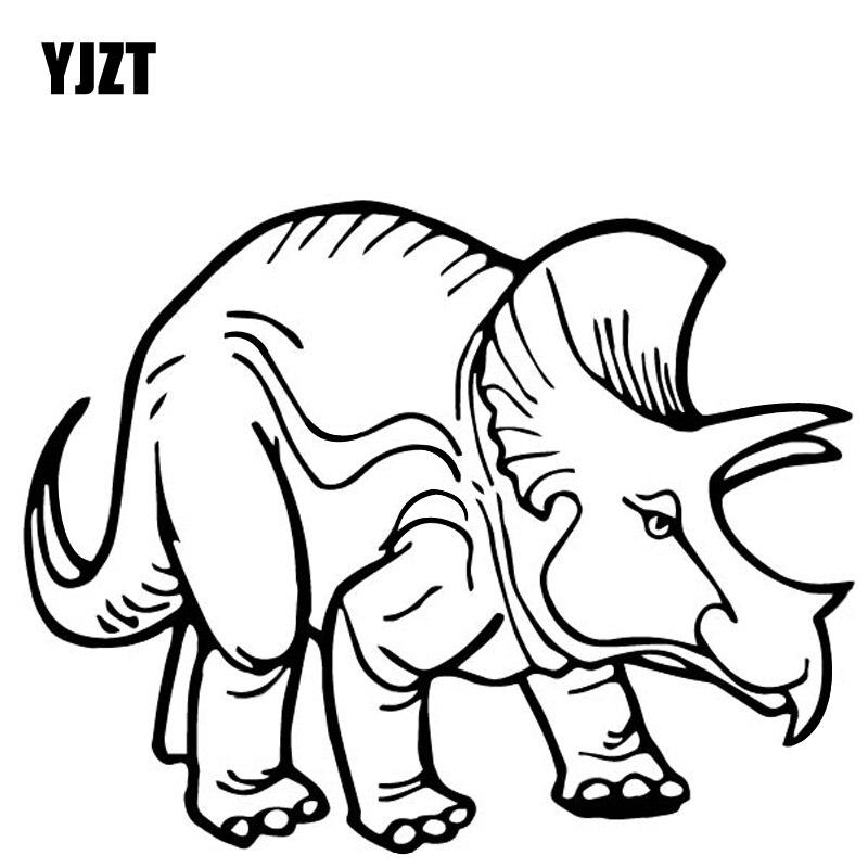 YJZT 16.7CM*13.2CM Triceratops Decoration Car Trunk Accessories Car Sticker Vinyl Decal Black/Silver