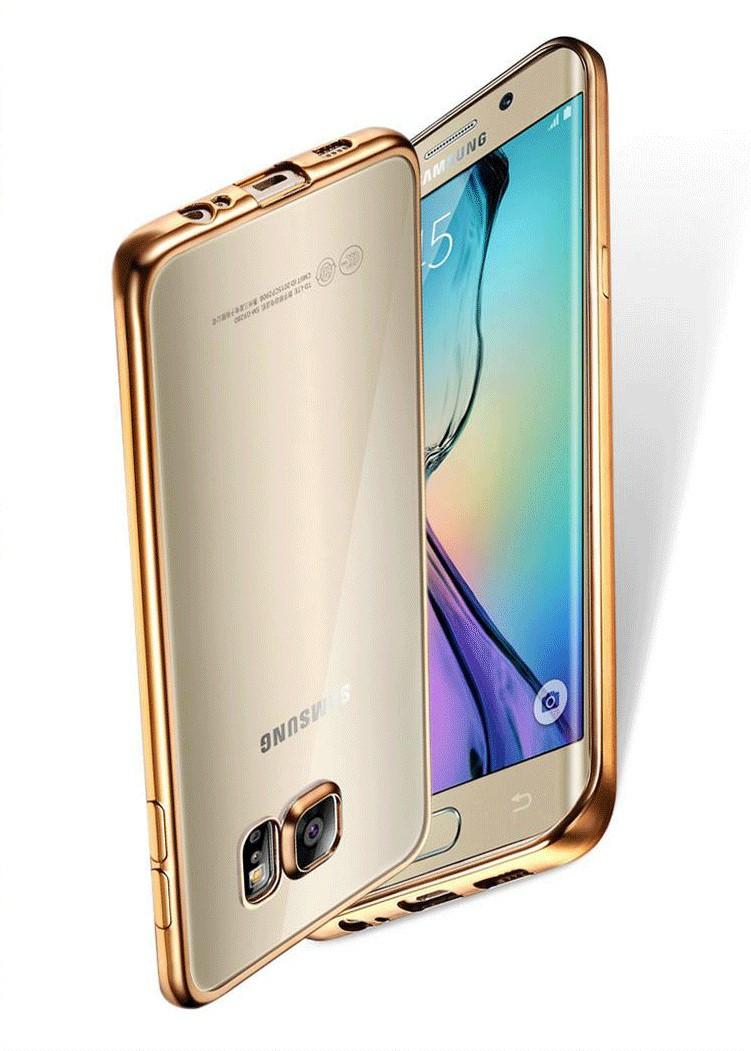 Coque dla samsung galaxy s6 edge s6 s7 s7 edge case wyczyść przezroczysty złocenie miękka tpu back cover dla samsung s6 edge case 6