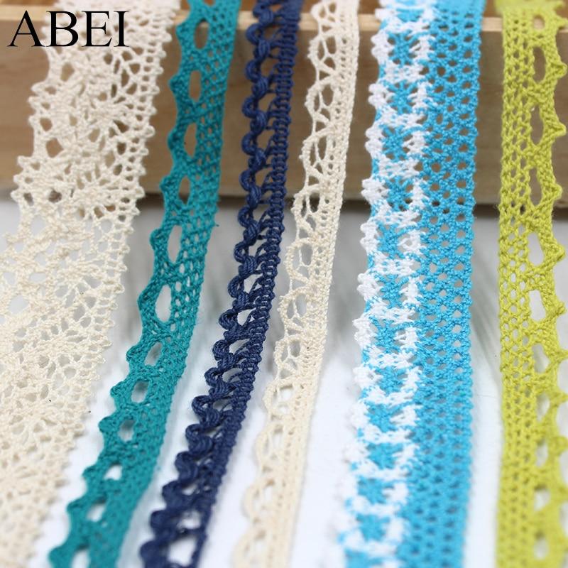 10yards/lot Beige Cotton Lace Trims Various Colors Fabric Ribbon for Clothes Edge Wrap Webbing Diy Bag Patchwork Crafts Supplier