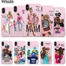 Мягкий розовый Силиконовый чехол для телефона iPhone 8 с коричневыми волосами для девочек, модная супер мама для Iphone 7 6 6S Plus X XS MAX XR 10 Etui
