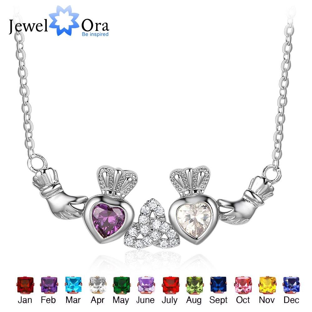 Plata de Ley 925 collar de Claddagh y colgantes 2 corazón corona personalizado collar de piedras irlandés Regalo De Amistad JewelOra NE101916