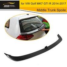 Car Styling Carbon Fiber Middle Trunk Spoiler Lip Wing For Volkswagen VW Golf MK7 GTI R 2014-2017