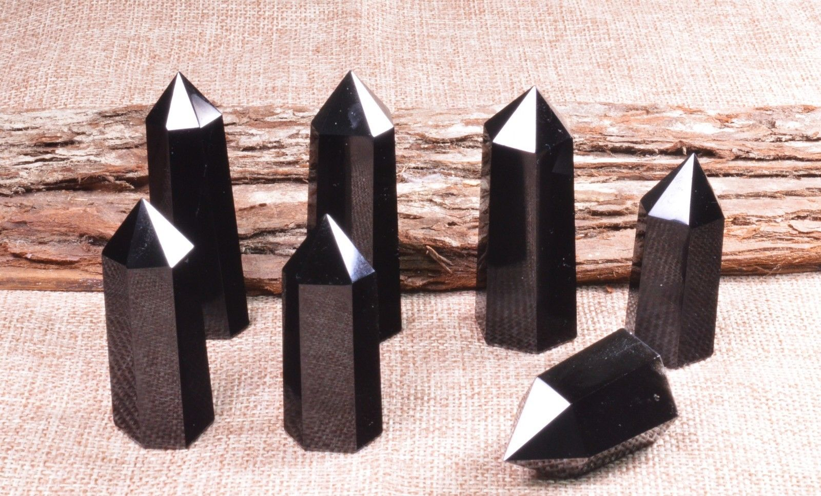 Natural negro obsidiana cuarzo varita Cruystal gema punto Mineral espécimen reiki curación 1 ud.