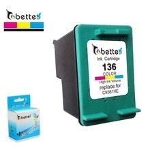 Bette Remplacement de Cartouche Dencre pour HP 136 Deskjet D4163 5443 6313 2573 Photosmart 2570 2573 7800 7830 C3183 D5163 CFP 1510 1513