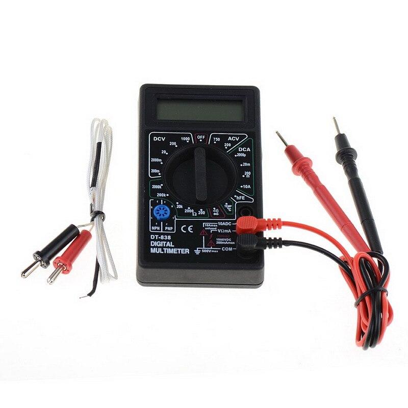 DT-838 multímetro Digital Volt/ Amp/Ohm/medidor probador de voltaje de temperatura herramientas de medición