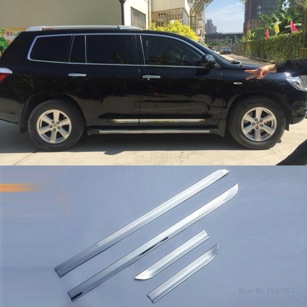 Ajuste para Toyota Highlander 2009, 2010 de 2011 de puerta lateral de acero inoxidable cuerpo moldeado cinta de ajuste de moldeado de Protector de la cubierta 4 Uds