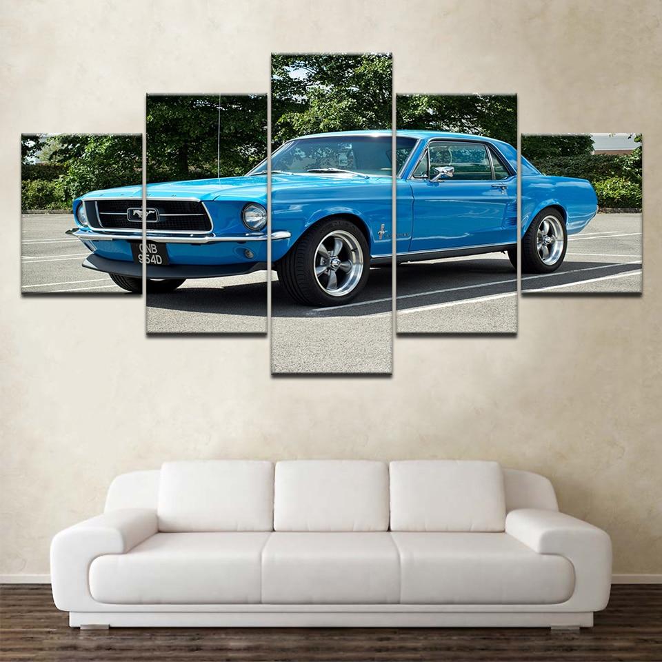 Arte Retro Poster Home Decor Wall Art 5 Carro Esportivo Azul Pieces Imagem Ford Mustang Carro de Corrida Pintura em Tela HD quadro da cópia