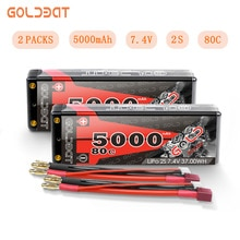 2 unidades goldbat 7.4 v lipo bateria 5000 mah rc carro 80c bateria lipo 2 s lipo recarregável com deans plug para rc carro barco caminhão rugido