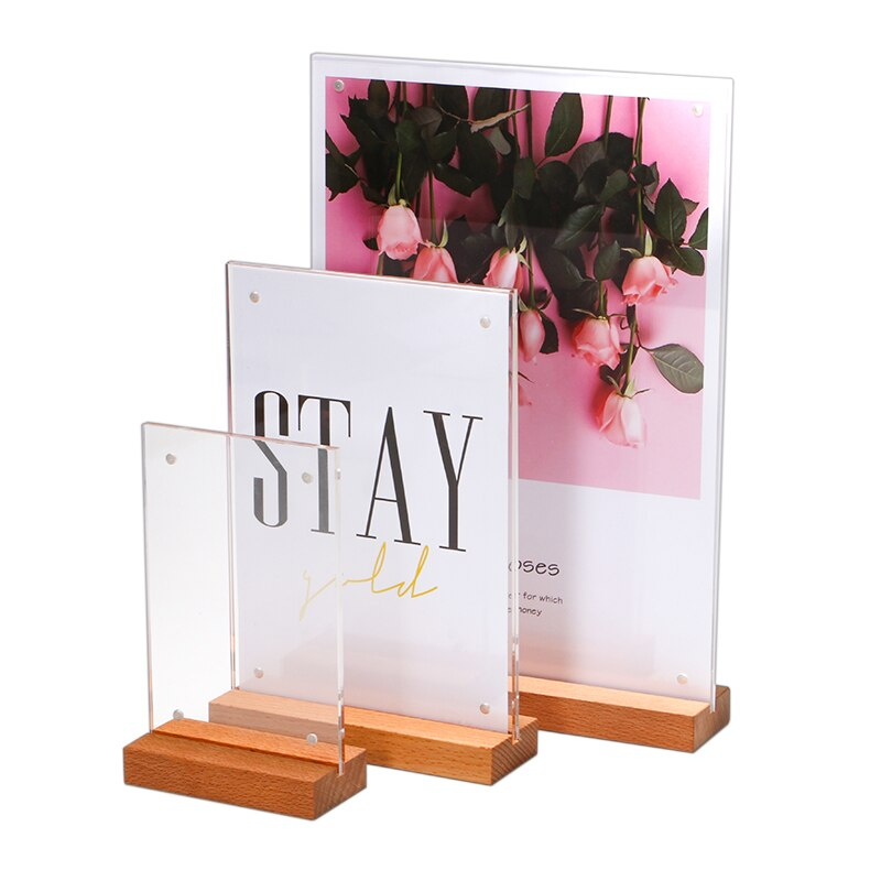 A6/a5/a4 Oak Wood Acrylic Desk Sign Menu Card Holder Price Tag Display Strong Magnetic Poster Frame For Restaurant Advertising недорого