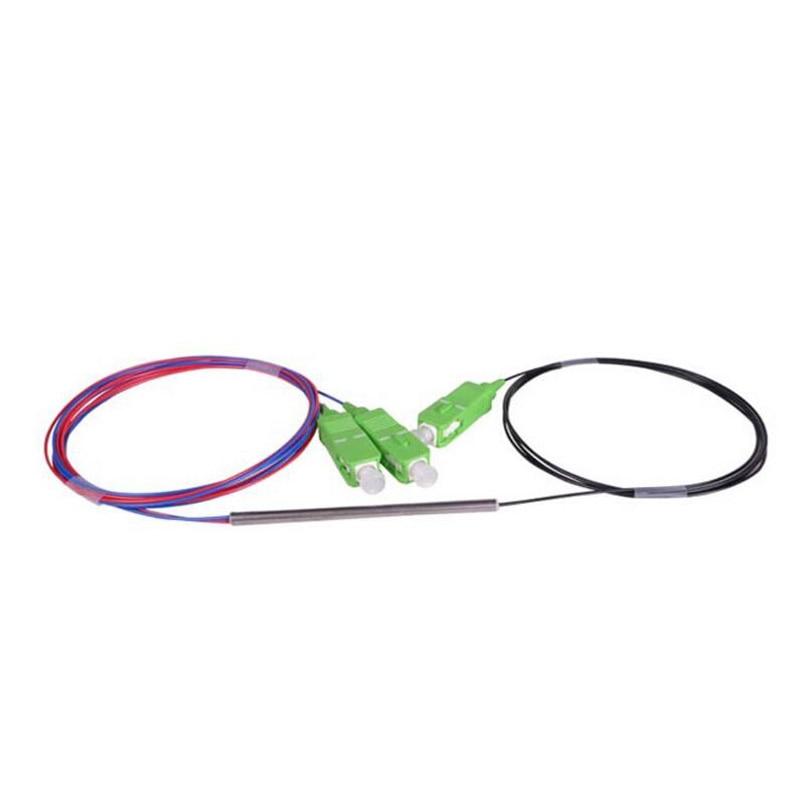 10Pcs SC APC PLC 1X2 Mini Fiber Optic splitter With SC Conector FBT Single Mode PLC Steel tube Optical Splitter Optic Coupler