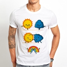 sun cloud Fusion rainbow funny t shirt men 2019 summer new white casual homme cool Meteorological fusion dance cute t-shirt
