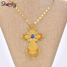Shamty الاثيوبية قلادة قلادة الأزرق حجر الذهب الخالص اللون الأفريقي Jwelery Habesha نمط الصليب سلسلة بدلاية