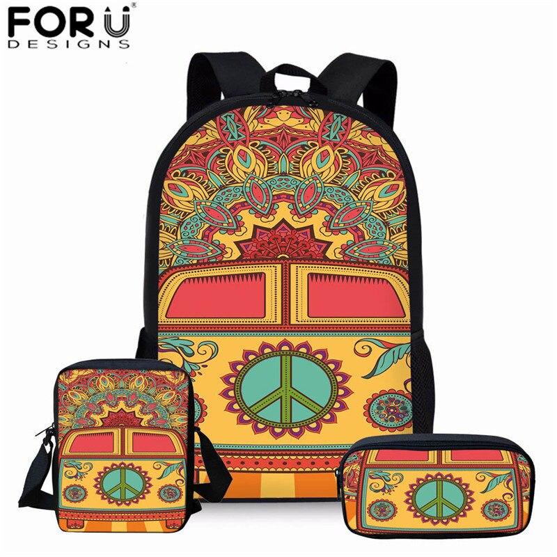 FORUDESIGNS/хиппи с принтом автобуса желтые школьные сумки для девочек подростков