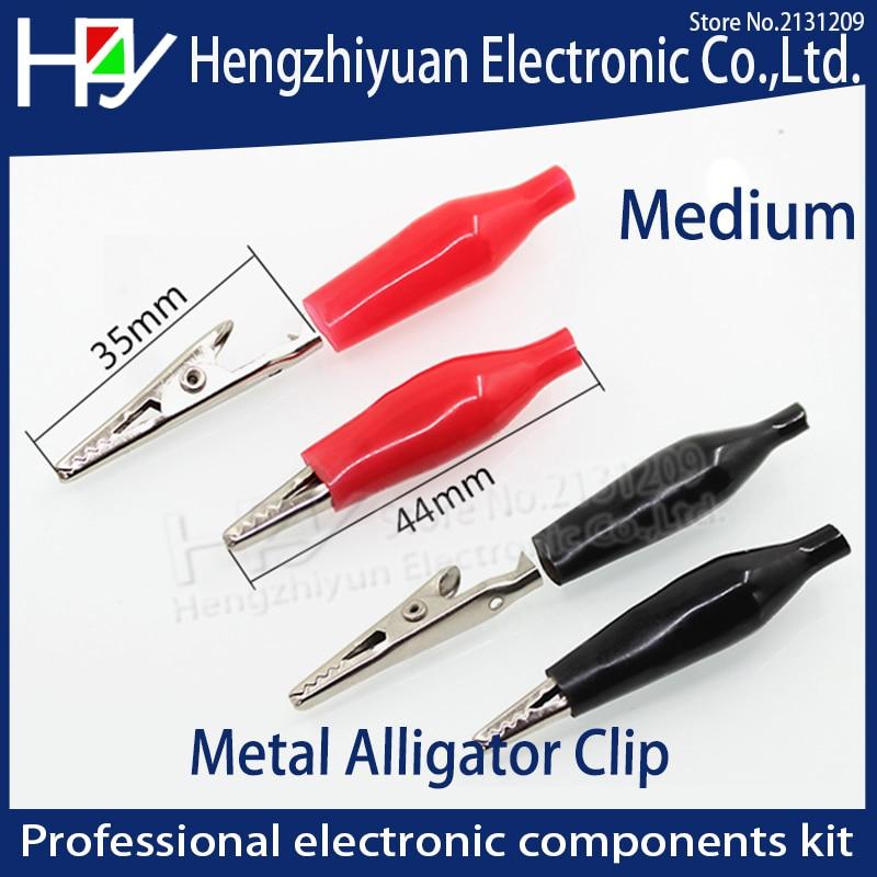 Pinza eléctrica de cocodrilo con Clip de cocodrilo de Metal de 35MM para medidor de sonda de prueba en negro y rojo con Bota de plástico