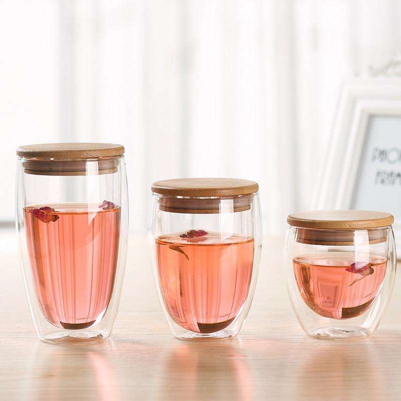 Gobelet en verre Borosilicate Double mur   Tasse à isolation thermique, gobelets en verre Borosilicate, Tasse de voyage transparente avec couvercle en bambou