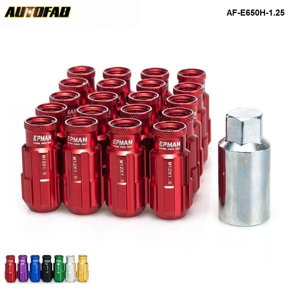 Racing Aluminum Lock Lug Nuts 20pcs 12x1.25 W/Key Universal Fit For Nissan Subaru Aftermarker Wheel Nuts AF-E650H-1.25