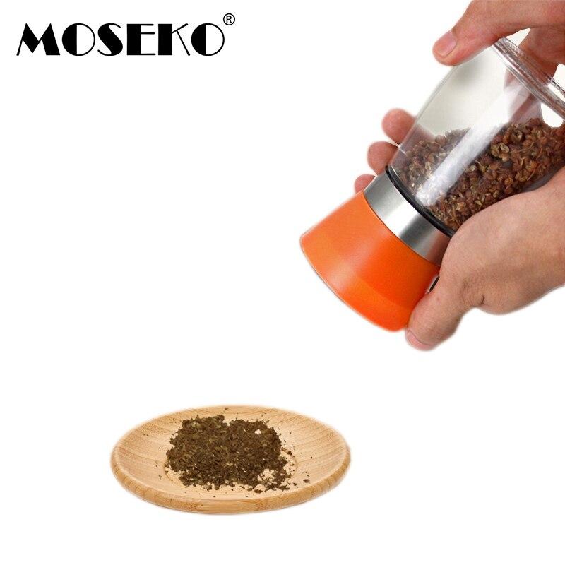 Molinillo de pimienta MOSEKO, 1 unidad, molinillo de sal de vidrio de plástico, hierbas aromáticas, molinillo Manual de pimienta, cocina, molinos de condimentos para barbacoa, herramientas de cocina