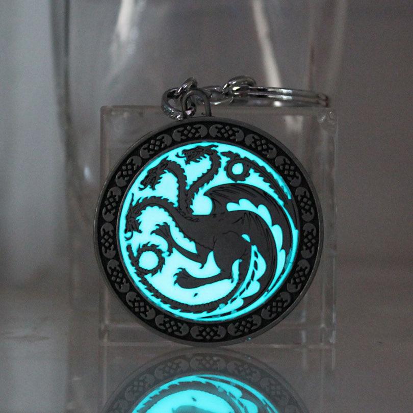 La canción del hielo y el fuego Juego de tronos dragón de Daenerys Targaryen llavero con insignia que brilla en la oscuridad colgantes luminosos