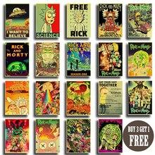 Rick et Morty série 2 rétro affiche papier kraft vintage affiches Animation science-fiction sitcom art peinture stickers muraux