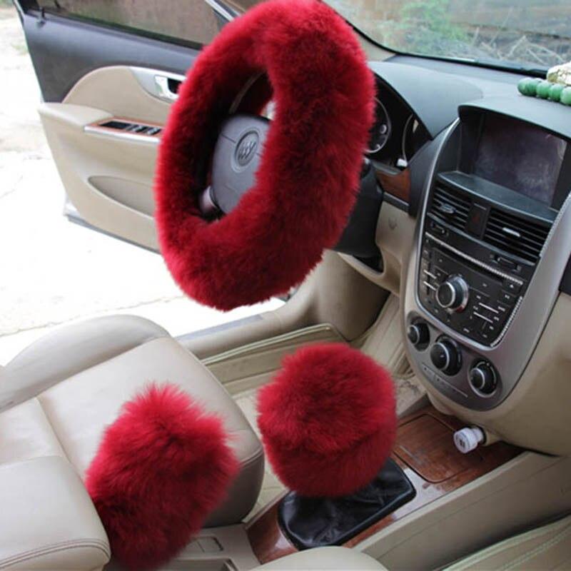 KKYSYELVA Pele Rosa Morno do Inverno tampa da roda de direcção Do Carro Preto Auto Acessórios Interiores 38 cm Automobiles Direcção-roda de Cobre