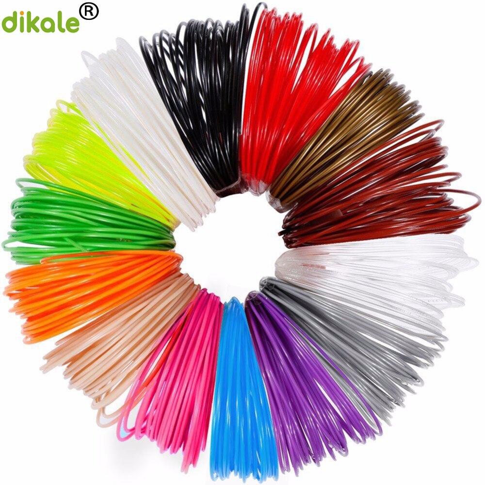 Dikale 3 м x 12 видов цветов 3D печати Материал 3D ручка нити PLA 1,75 мм Пластик Заправка для 3D Impresora рисунок принтер карандашом