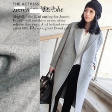 cute girl grey Warm Bai Xuehui High Quality 90 % Wool Coat Jacket Fabric Imported Goods 150 Wide In