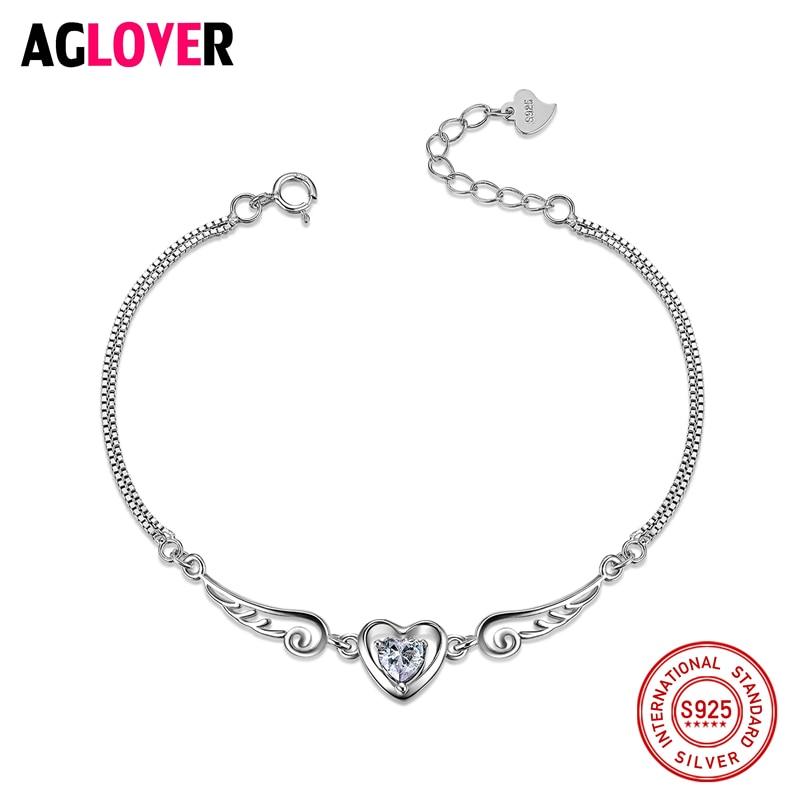 AGLOVER 100% 925 Sterling Silver podwójne Angel Wings serce urok bransoletki dla modny kryształ damski cyrkon biżuteria ślubna