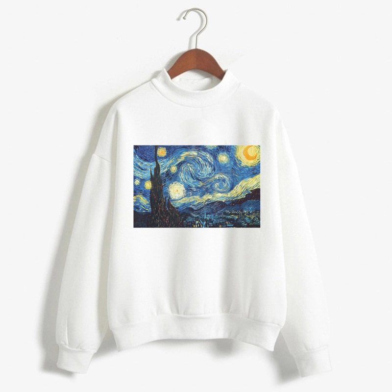 Sudadera con capucha de manga larga con estampado de Van Gogh, moda femenina, Invierno 2018, Linda sudadera Casual
