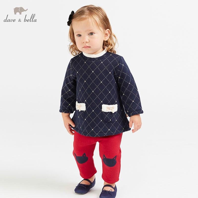 DBM8191 dave bella, conjuntos de ropa de moda de otoño para niñas, bonitos trajes de manga larga estampado para niños, ropa