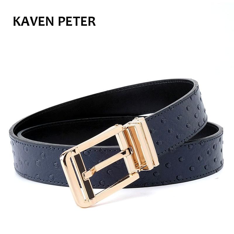 Men Cowskin Belt With Ostrich Pattern Belt Gold Buckle Belt With Designer High Quality Animal Pattern Men's Belts