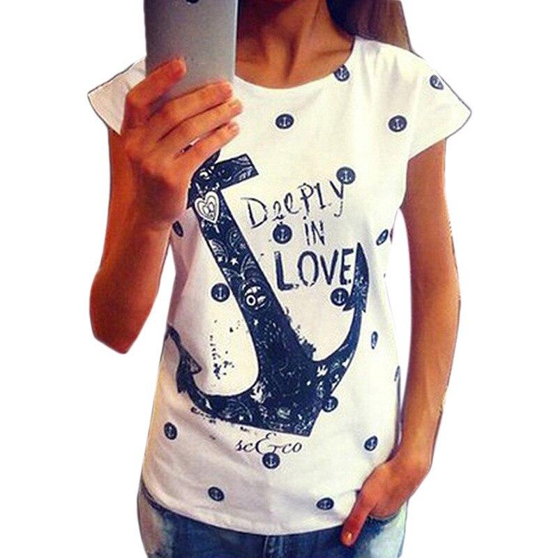 Moda de Feitong 2018, camisetas de estilo veraniego para mujer con estampado de letras y ancla, camisas casuales ajustadas de algodón, Tops, envío gratis