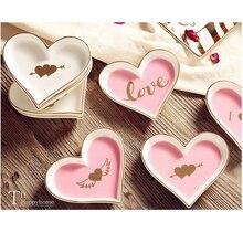 Assiette à vaisselle en céramique rose petit amour   Bijoux décoratifs, plateau de rangement pour bibelot fille femme, cadeau de femme 1/3 pièces