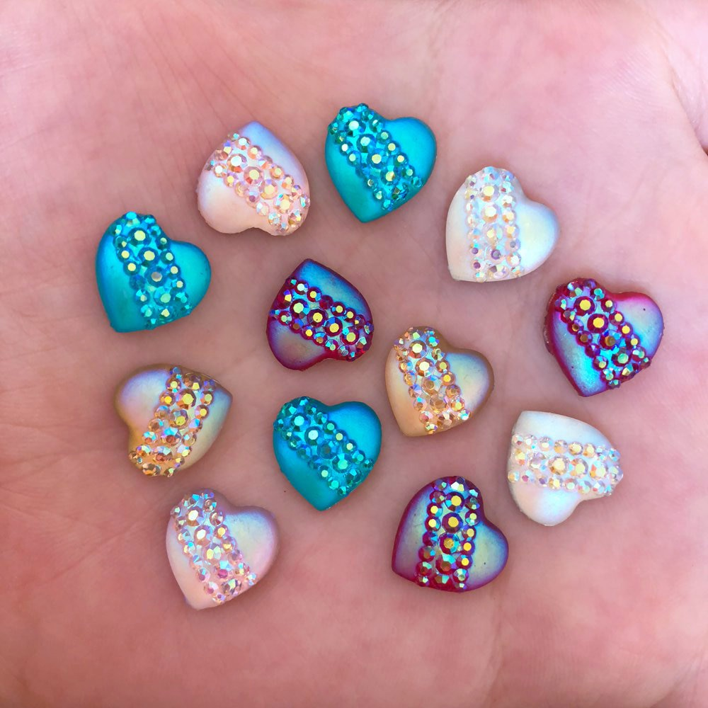 40pcs 12mm Resin Heart Cat's Eye Flatback Rhinestone Wedding Buttons DIY Crafts R42