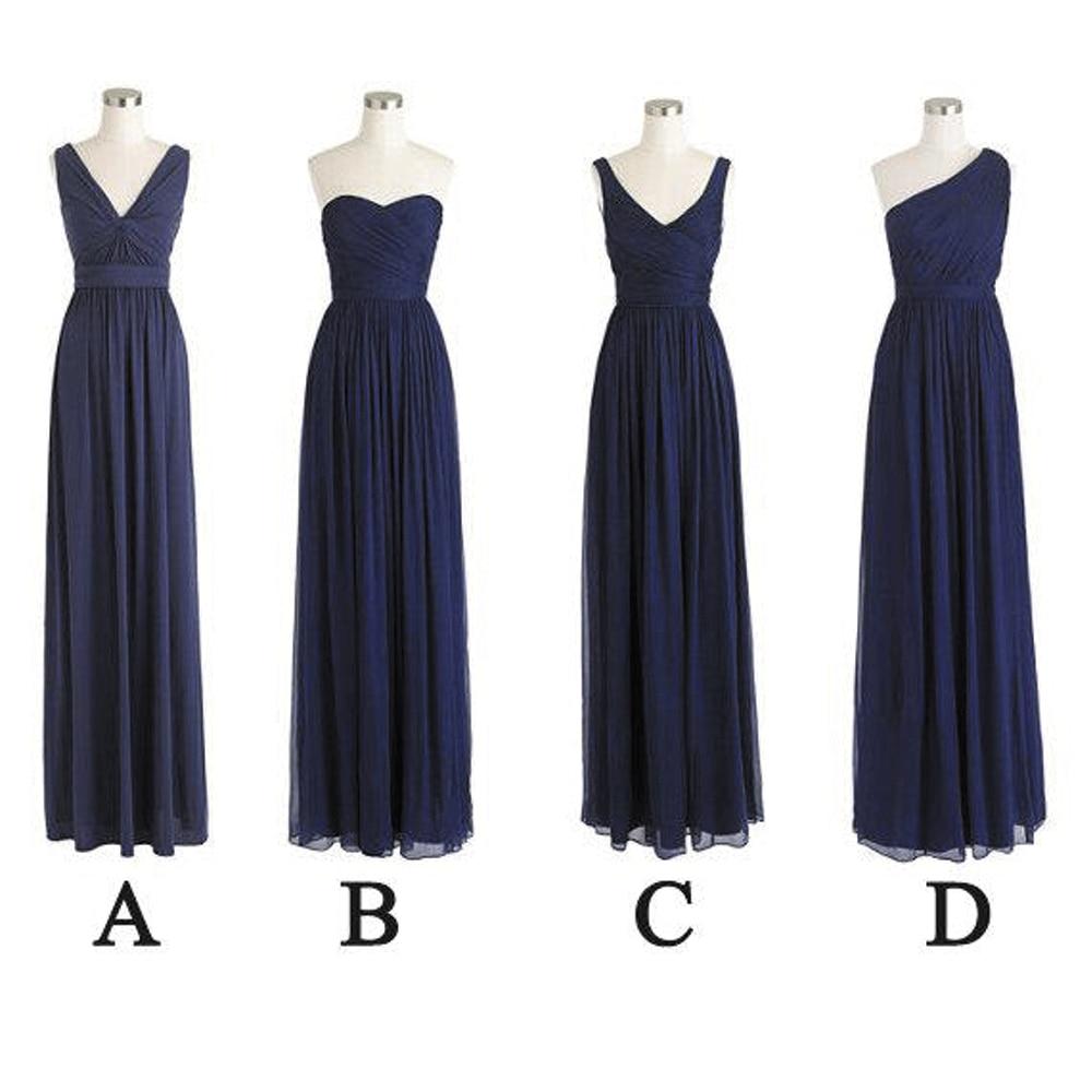 SuperKimJo Navy Blue Bridesmaid Dresses Long Mismatched Chiffon Cheap Wedding Party Dress Vestido De Festa Longo mismatched detachable earrings