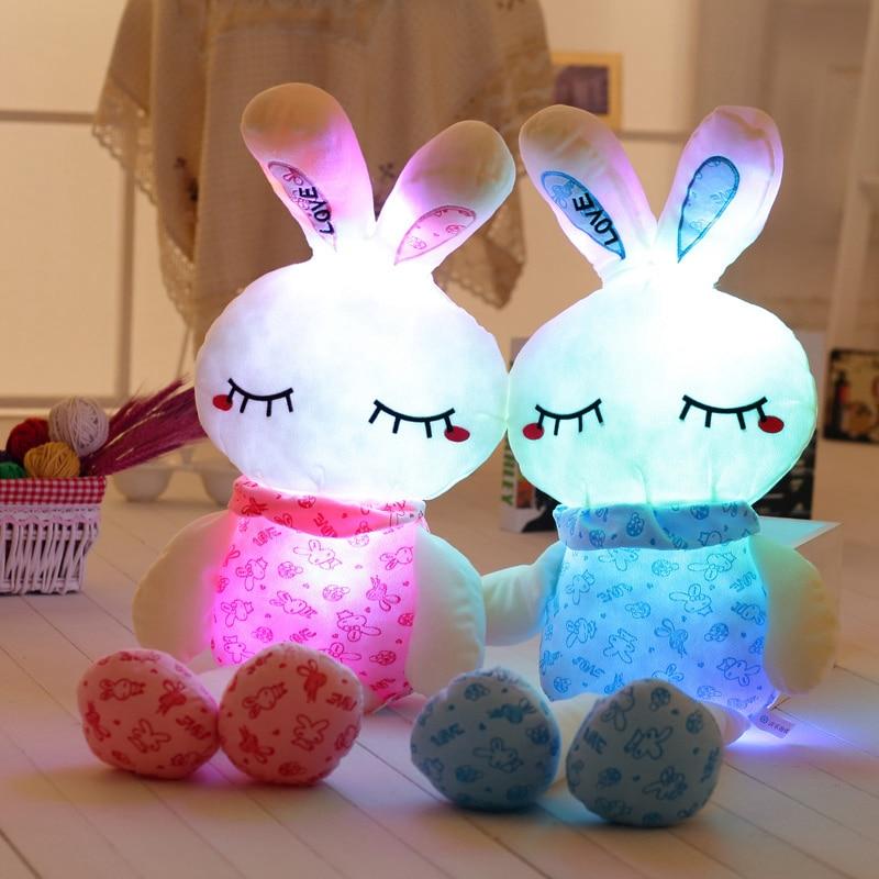 1 pieza 75/100cm luz creativa LED conejo de peluche de juguete de peluche colorido conejito brillante regalo de Navidad para niños
