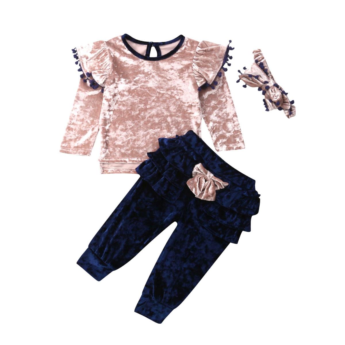 1-6Y Kleinkind Kinder Baby Mädchen Langarm Samt Shirt Tops Rüschen Bogen Lange Hose Hosen Stirnband 3PCS Kleidung Set