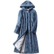 Veste de manteau de fourrure de vison en tranches véritable de luxe avec capuche hiver véritable femmes fourrure x-long vêtements dextérieur grande taille 3XL LF5169