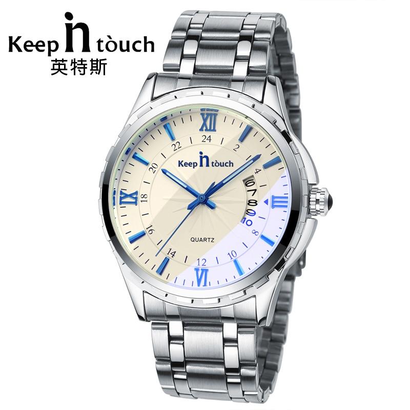 KEEP IN TOUCH Luxury Watch Men Quartz Luminous Calendar High Quality Man Watches Sapphire Crystal Retro Relogios Masculino