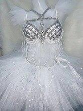White Skirt Sparkly Rhinestones Pearls Bikini Set Women singer Dance Costume Nightclub Bar Party DJ Performance Stage Outfit
