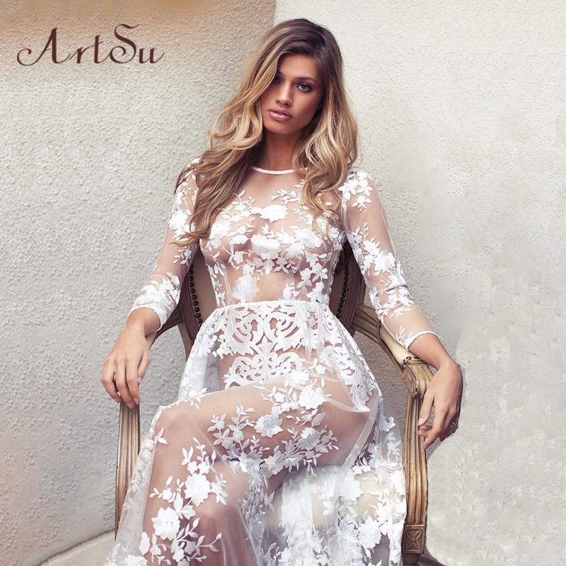 ArtSu-Vestido Maxi transparente De manga larga, moda De primavera-verano para mujer, sexi, con encaje, para fiesta De noche, ASDR20030