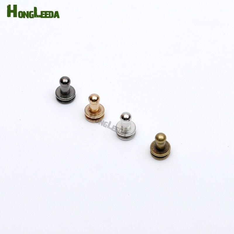 DIY 80 conjuntos/lote 4*7*8mm perilla de tornillo de latón bolso de mano con remaches, correa de reloj, zapatos, remaches de metal plata/Negro/bronce/oro ZD027