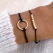 IPARAM bohème ronde perlée corde chaîne Bracelet pour femmes rétro noir corde chaîne 2PC breloque tendance Bracelet