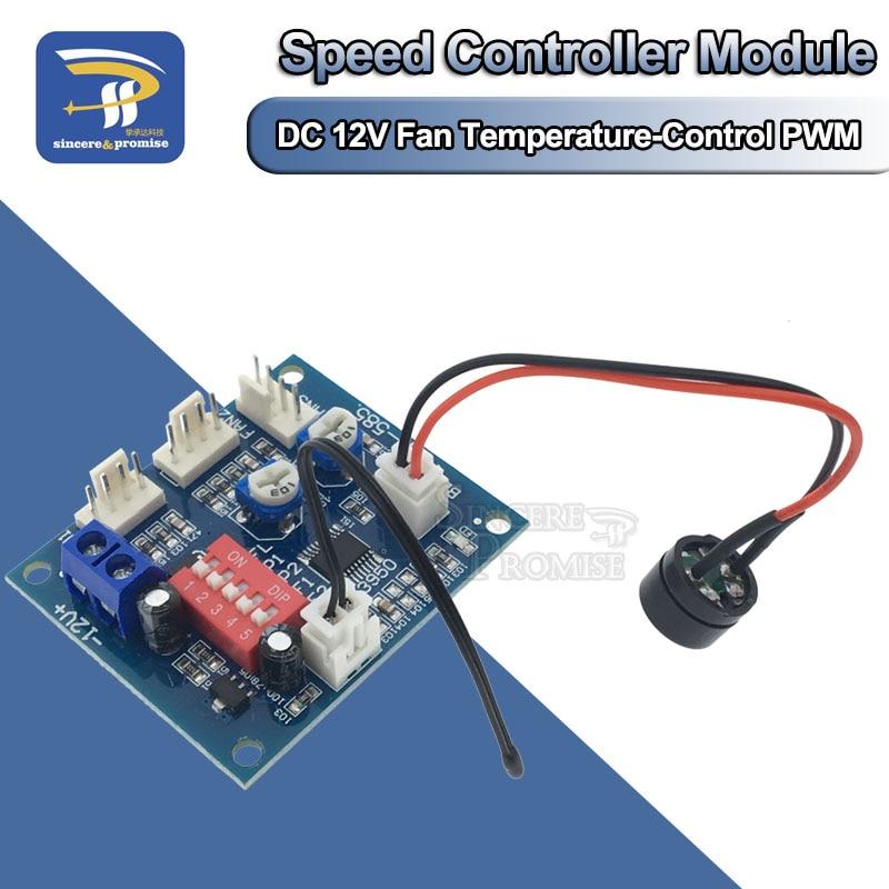 DC 12V 5A PWM PC CPU Fan Temperature Control Speed Controller Module Buzzer High-Temp Alarm NTC B 3950 Thermistor 50K