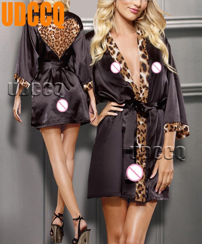 Sexy leopardo cetim lingerie pijamas roupa de noite stripper babydoll vestido de noite robe trajes vestuário exótico 9002