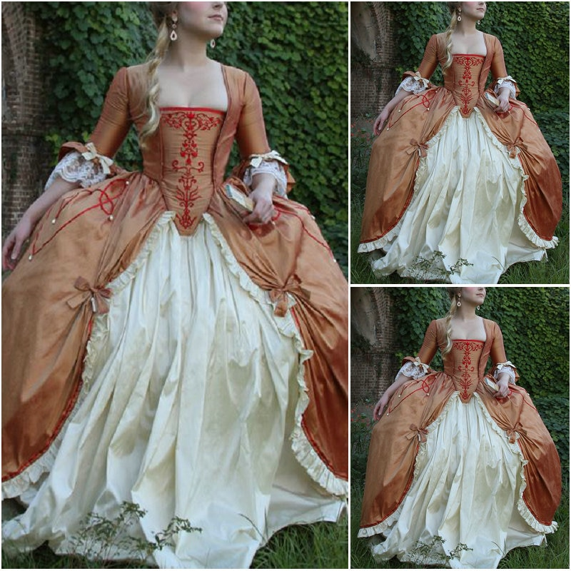 2017 New!Customer-made Victorian Dress1860S Scarlett Civil War Southern Belle dress Marie Antoinette dresses US4-36 C-957