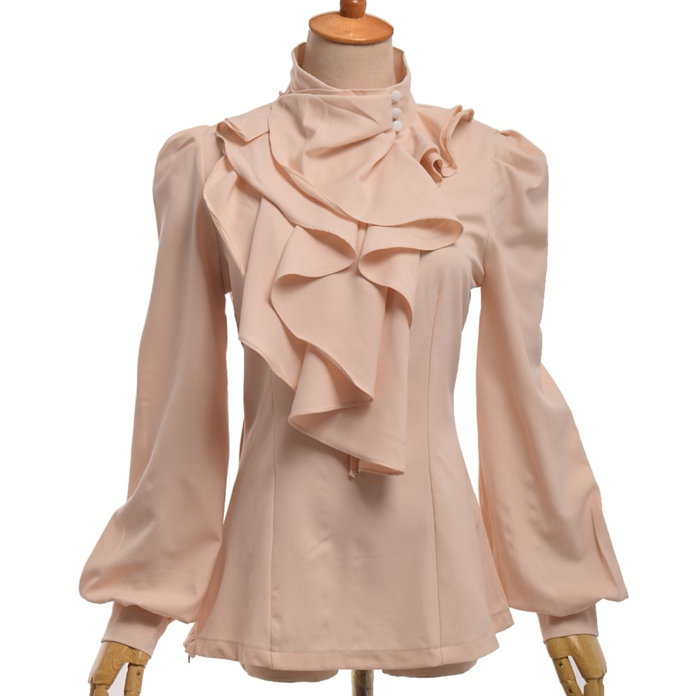 Camisa feminina plissado plain blusa manga longa fino ajuste alto pescoço flounce jabot