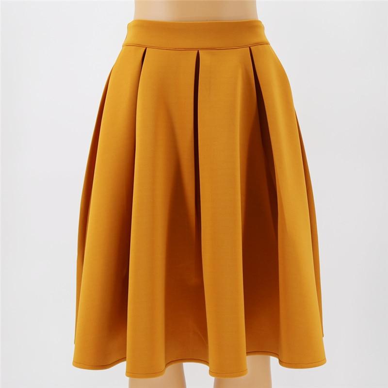 Casual Women Pleated Skirt Elegant High Waist A-Line Mini Skirt Spring Summer Sweet Solid Female High Waist Plus Size Skir